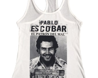 Pablo Escobar Mug Shot Women's White Tank Top Made In The USA (S-2XL)