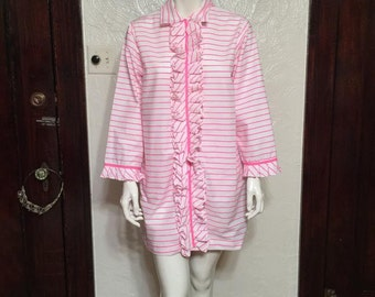 Vintage New Old Stock 1960s Bright Pink Striped Tuxedo Style Pajamas with BLOOMERS!