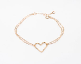 """Bracelet """"passion"""", heart, gold-plated way gold filled 14 k, french-modern-minimalist"""
