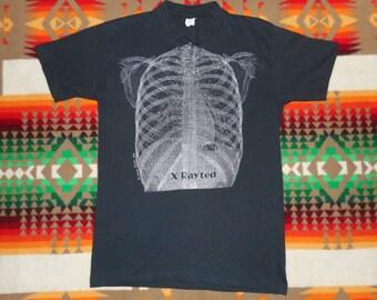 vintage 1978 X Rayted Skeleton Ribcage Shirt Size XS