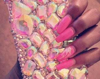 3D Glass Gem Crystal Cell Phone Case for iPhone and Samsung Galaxy