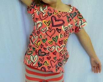 Deep Pink Hearts Dolman Top- Sizes 2T-12