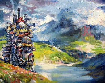 Howl's Moving Castle Painting 4 x 6'', 6 x 8'', 8 x 10''