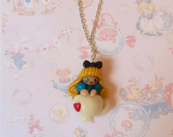 Necklace Kawaii Alice in a Cup of Tea - but dough - Handmade by Letyobaachan