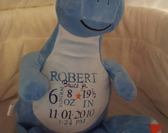 """Personalized Baby / Infant / Newborn Stuffed Animal Birthday Annoucement Embroidered 12"""" Tall Cubbie Custom Made to Order"""