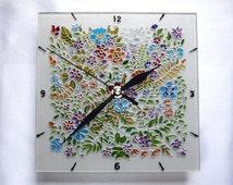Painted Glass Clock Small wall clocks Original Floral Wall Clock Hand Painted Unusual Wall Clock flowers Decorative square Clock Unique Gift