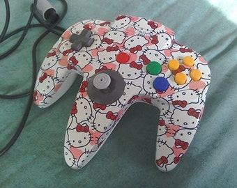 Hello Kitty / American Car Licence Plate N64 Hydrodipped Controller
