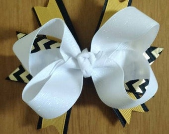 White, Black and Gold Hair Bow
