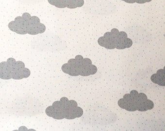Rain Cloud Fabric | Cute Cloud Print | Little Raindrops | Gray | White | Stormy Weather | Sky | Puffy Clouds | Polka Dots | Blue Dots