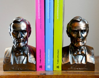 Pair of Abraham Lincoln Bronze Bust Bookends w/ Signature