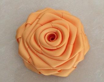 "Gold Satin Ribbon Rolled Rose, 2.5"", Satin Rosette, Wholesale Flower , Floral Embellishment, fabric flower"