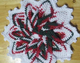 Free Shipping, Star Flower Crochet Hot Pad, Hotpad, Pot Holder, Trivet, Star Flower trivet, Flower hot pad, Christmas Decoration