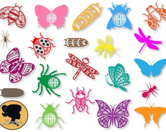 Lady Bug Monogram frames - Bugs Design- Butterfly SVG Cut Files for Vinyl Cutters, Screen Printing, Silhouette, Die Cut Machines, & More