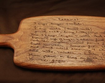 Unique Gift for Family - Grandma's Recipe Board in her Handwriting, Engraved Walnut Cutting Board With Handle, Handmade