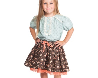 "Skirt ""Flowers"" brown"