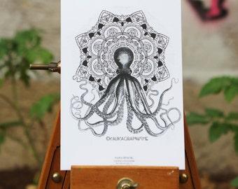 Postcard Octopus Mandala - Mandala - Mandala Kraken Cthulhu