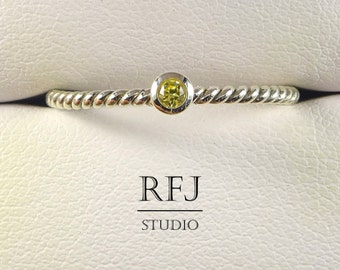 Rope Lab Citrine Silver Ring, Yellow CZ 2 mm Braided Sterling Ring Simulate Citrine Gemstone Stacking Twisted Ring Yellow CZ 925 Silver Ring