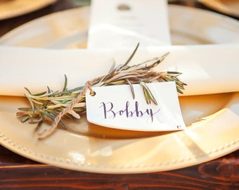 Simple, Handwritten, Modern Calligraphy Place Cards