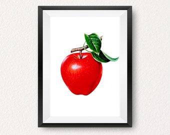 Apple, Apple print, Instant download, Fruit print, Kitchen wall art, Red print, Modern print, Home decor, Wall art