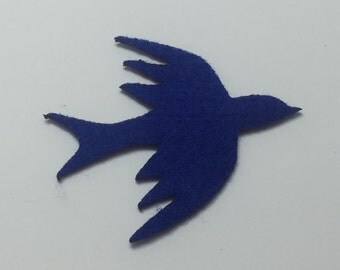 Birds - Blue - Felt Die Cuts - 5 Pieces