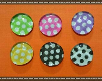 Polka Dot Glass Gem Magnet set of 6