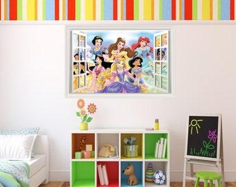 Disney Princess 3D Effect Graphic Wall Vinyl Sticker Decal