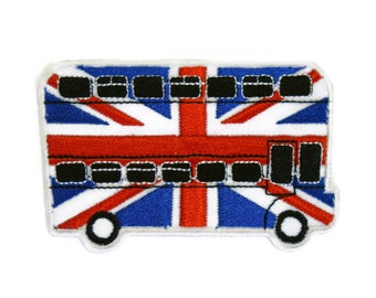 Bus London United Kingdom England Flag Embroidered Applique Iron on Patch 9.2 cm. x 5.9 cm.