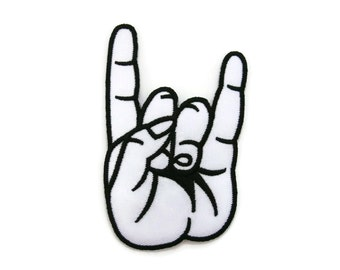 White Rock and Roll Hand Sign Embroidered Applique Iron on Patch 6.1 cm. x 9.9 cm.