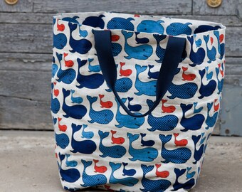 Shopping Market Beach Bag Canvas maritime Whale