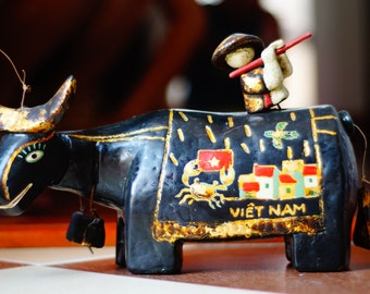 Painted Lacquer sculpture Buffalo water puppet . Home decoration