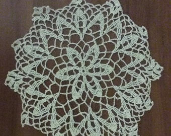 Delicate crochet white doily made by me
