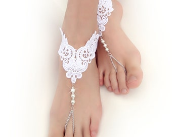 Lace Chain Barefoot Sandals. White Foot Jewelry. White Pearl Beads. Silver Chain Boho Chic Anklets. Beach Wedding. Bridal Accessory. 2 pcs.