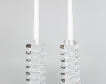 Acrylic/Lucite Clear Stacked Zigzag Modern Candlestick (sold as pair)