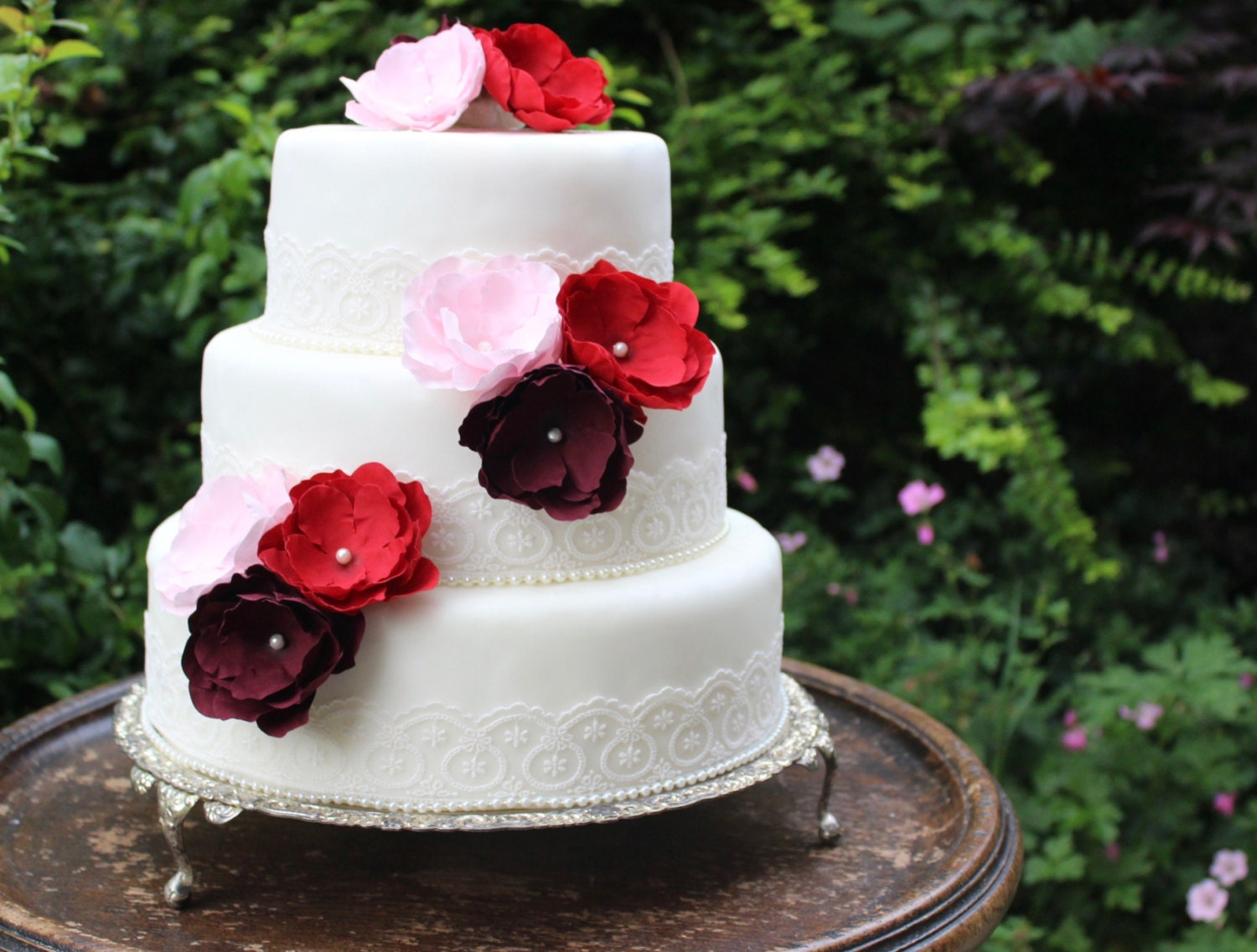Red & Pink Vintage Lace Wedding Cake Flower Topper Set Pearl