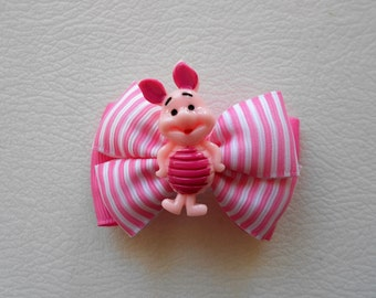 Lot of 2 Piglet Handmade Boutique Hair Bow Clips Pink White