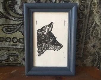 "Framed fox print 5""x7"""