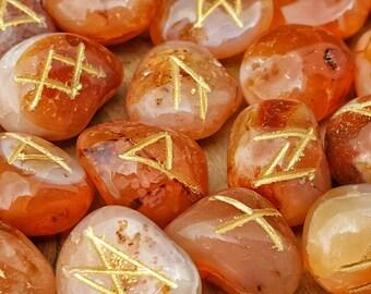 Red Carnelian Rune Set for Reiki Healing-  398