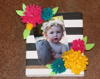 Handmade wood block frame with flowers