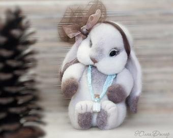 Needle felted Bunny - Miniature sculpture Handmade- Felt toy -  Bunny as a gift-animals Bunny .