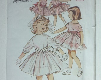 Retro Butterick 6610 Childrens Toddlers Fitted Dress 1960's Size 1, 2, 3,