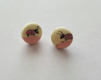 Vintage fabric. Lady bug earrings