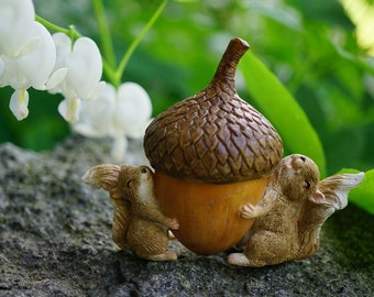 Miniature Dollhouse FAIRY GARDEN ~ Squirrels Carrying Acorn Trinket Box with Secret Compartment Decor ~ NEW