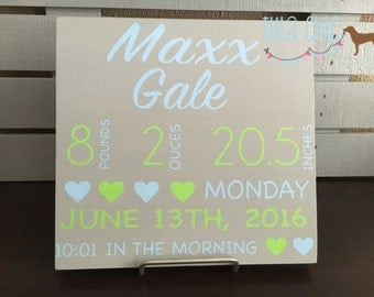 Baby Announcement Board, Birth Stats