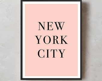 Typography Print, Printable Wall Art, Wall Art, Digital Download, Pink, Milano, City, Quote, Home Decor, Fashion, New York City, Chic