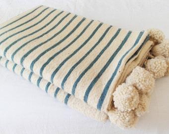 Handmade wool pompom blanket (cream with blue stripes)