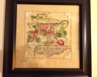 Handmade Wall Art - Complete Framed Finished Cross Stich picture - Teacup & strawberries