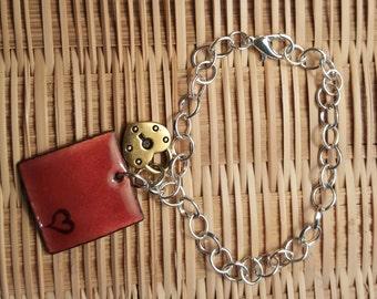 Chain lock bronze plaque bracelet
