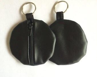 Black Pleather Fabric Organization Head Phone Case