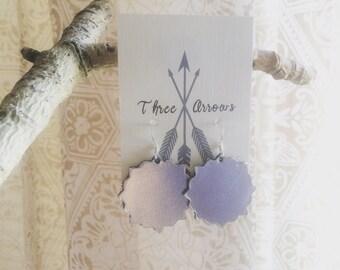 Silver Metallic leather earrings • scallope