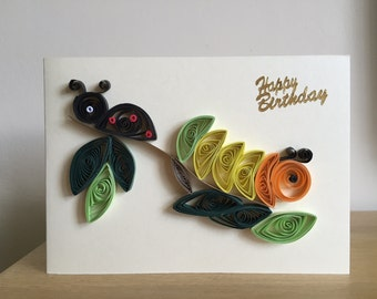 Handmade children quilled birthday card!